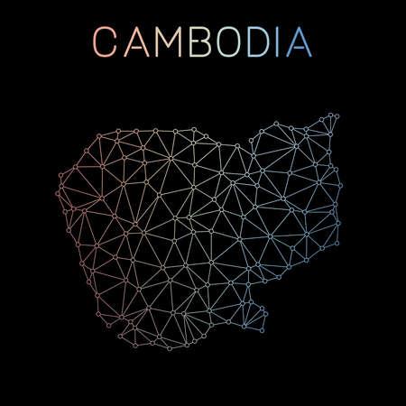 カンボジア ネットワーク マップ。多角形の地図デザインを抽象化します。ネットワーク接続のベクター イラストです。