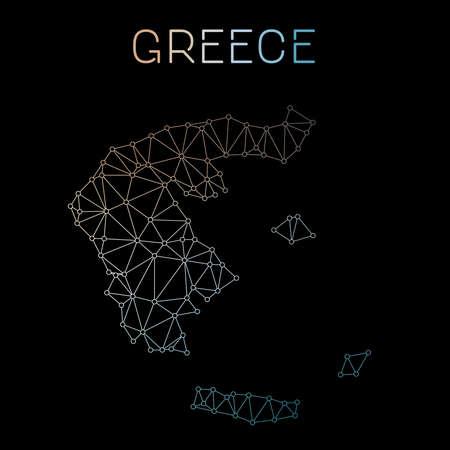 Greece network map. Abstract polygonal map design. Network connections vector illustration. Ilustração