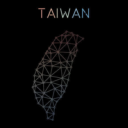 Taiwan, Republic Of China network map. Abstract polygonal map design. Network connections vector illustration.