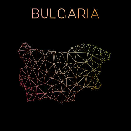 Bulgaria network map. Abstract polygonal map design. Network connections vector illustration.
