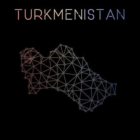 Carte du réseau du Turkménistan. Conception de carte polygonale abstraite. Illustration vectorielle de connexions réseau. Banque d'images - 78932881