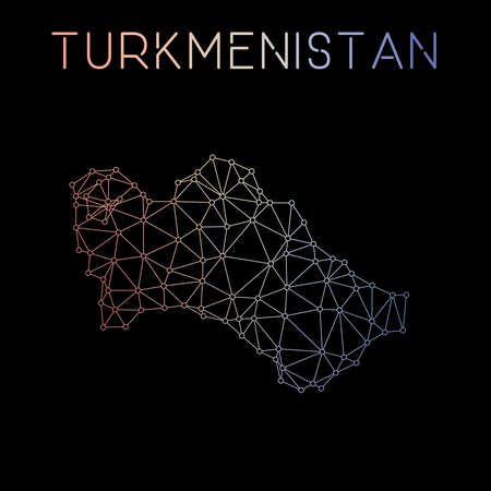 Turkmenistan network map. Abstract polygonal map design. Network connections vector illustration.