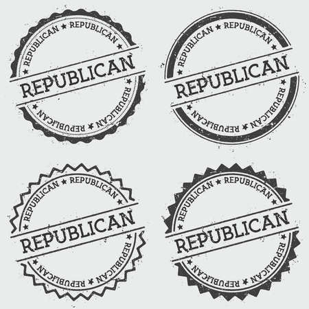 sign post: Republican insignia stamp isolated on white background. Grunge round hipster seal with text, ink texture and splatter and blots, vector illustration. Illustration