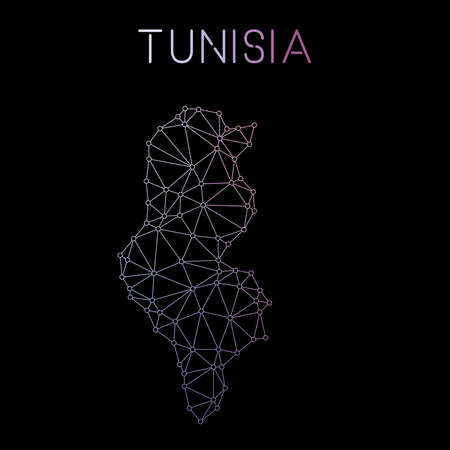 Tunisia network map. Abstract polygonal map design. Network connections vector illustration.