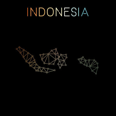 Indonesia network map. Abstract polygonal map design. Network connections vector illustration.