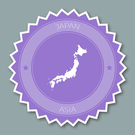 Japan badge flat design. Round flat style sticker of trendy colors with country map and name. Country badge vector illustration.