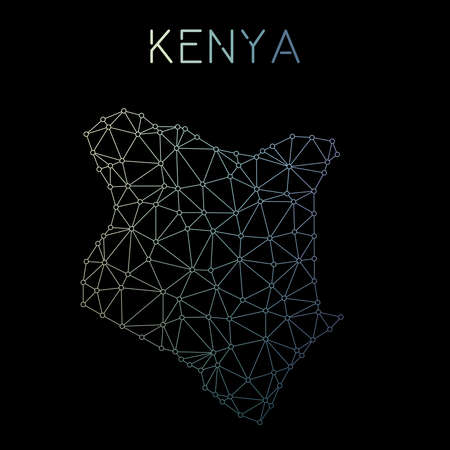 Kenya network map. Abstract polygonal map design. Network connections vector illustration. Illustration