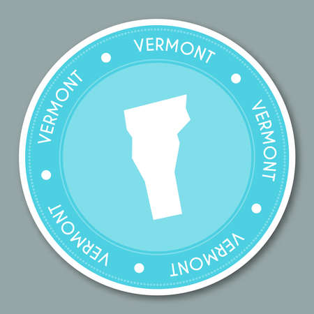 Vermont label flat sticker design. Patriotic US state map round lable. Round badge vector illustration.