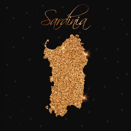 Sardinië kaart gevuld met gouden glitter. Luxe ontwerpelement, vectorillustratie.