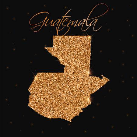 guatemalan: Guatemala map filled with golden glitter. Luxurious design element, vector illustration.