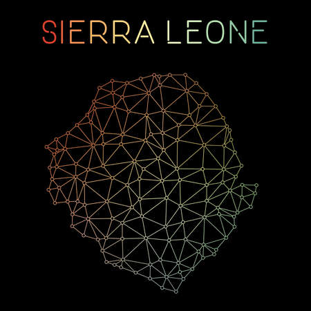 Sierra Leone network map. Abstract polygonal map design. Network connections vector illustration.