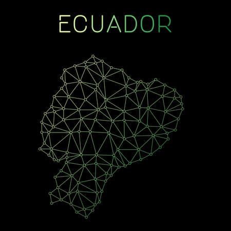 Ecuador network map. Abstract polygonal map design. Network connections vector illustration. Ilustração