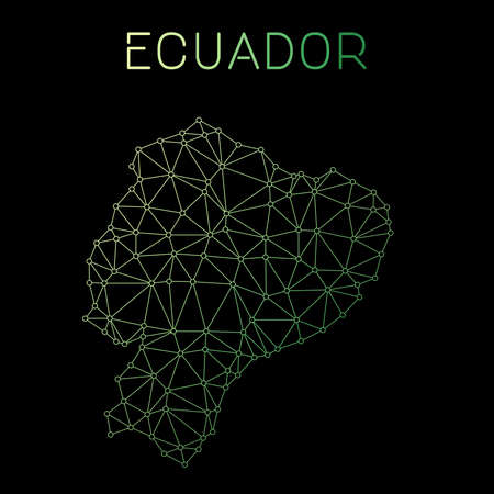 Ecuador network map. Abstract polygonal map design. Network connections vector illustration. Illustration