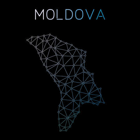 Moldova, Republic of network map. Abstract polygonal map design. Network connections vector illustration.