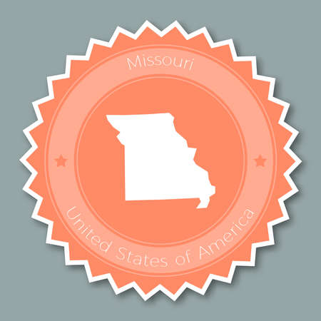 Missouri badge flat design. Round flat style sticker of trendy colors with the state map and name. US state badge vector illustration.