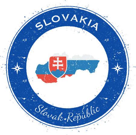 slovakia: Slovakia circular patriotic badge. Grunge rubber stamp with national flag, map and the Slovakia written along circle border, vector illustration. Illustration