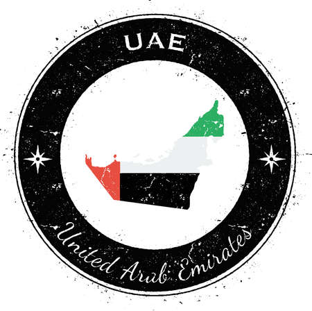 nationalist: United Arab Emirates circular patriotic badge. Grunge rubber stamp with national flag, map and the United Arab Emirates written along circle border, vector illustration.