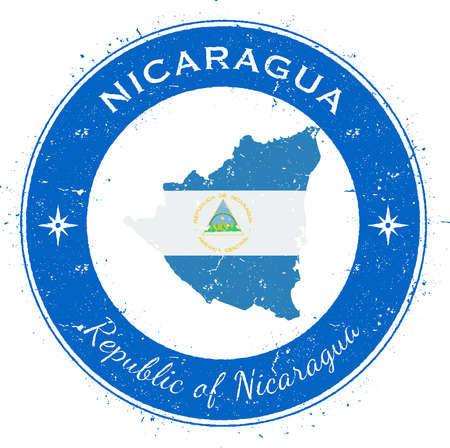 Nicaragua circular patriotic badge. Grunge rubber stamp with national flag, map and the Nicaragua written along circle border, vector illustration. Illustration