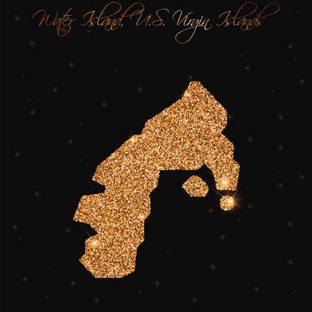 Water Island, U.S. Virgin Islands map filled with golden glitter. Luxurious design element, vector illustration.