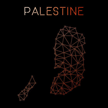 Palestine network map. Abstract polygonal map design. Network connections vector illustration. 向量圖像