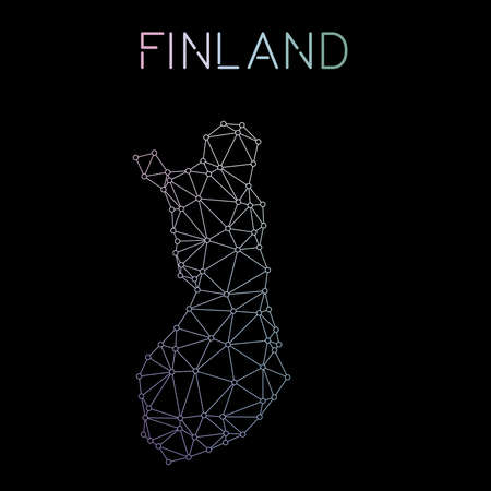 Finland network map. Abstract polygonal map design. Network connections vector illustration.