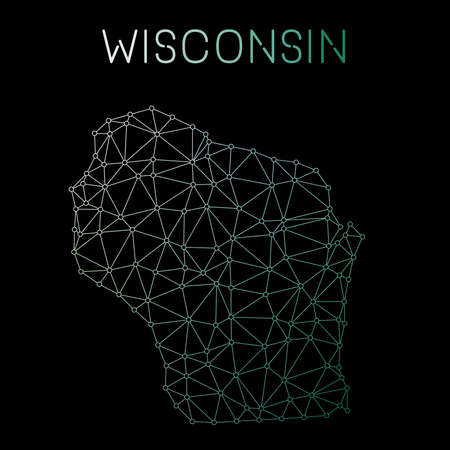Wisconsin network map. Abstract polygonal US state map design. Network connections vector illustration.