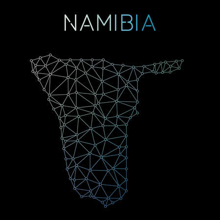 Namibia network map. Abstract polygonal map design. Network connections vector illustration. 向量圖像