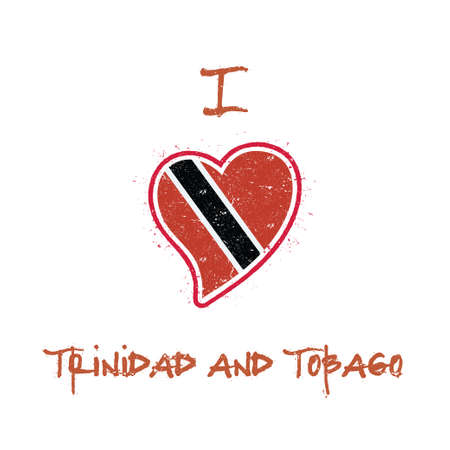 Trinidadian flag patriotic t-shirt design. Heart shaped national flag Trinidad and Tobago on white background. Vector illustration.