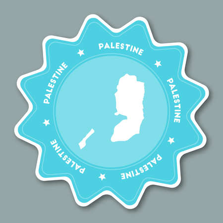 Palestine map sticker in trendy colors. Star shaped travel sticker with country name and map. Can be used as logo, badge, label, tag, sign, stamp or emblem. Travel badge vector illustration.