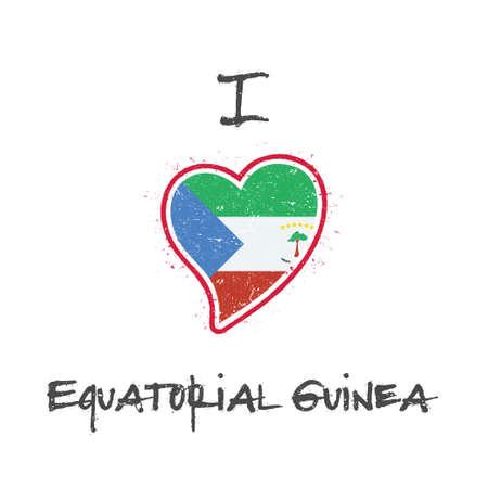 Equatorial Guinean flag patriotic t-shirt design. Heart shaped national flag Equatorial Guinea on white background. Vector illustration.