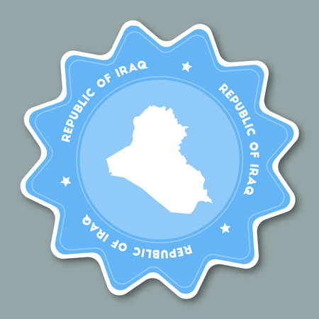 Iraq map sticker in trendy colors. Star shaped travel sticker with country name and map. Can be used as logo, badge, label, tag, sign, stamp or emblem. Travel badge vector illustration.