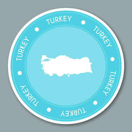 nationalist: Turkey label flat sticker design. Patriotic country map round lable. Country sticker vector illustration.