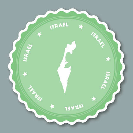 Israel sticker flat design. Round flat style badges of trendy colors with country map and name. Country sticker vector illustration. Illustration