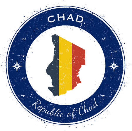 Chad circular patriotic badge. Grunge rubber stamp with national flag, map and the Chad written along circle border, vector illustration. Illustration