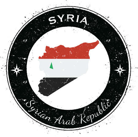 Syrian Arab Republic circular patriotic badge. Grunge rubber stamp with national flag, map and the Syrian Arab Republic written along circle border, vector illustration. Illustration