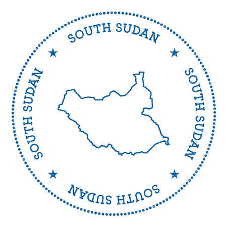 nationalist: South Sudan vector map sticker. Hipster and retro style badge with South Sudan map. Minimalistic insignia with round dots border. Country map vector illustration.