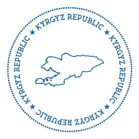 Adesivo de mapa de vetor Quirguistão. Hipster e distintivo de estilo retrô com mapa do Quirguistão. Insígnia minimalista com borda de pontos redondos. Ilustração em vetor mapa país. Ilustración de vector