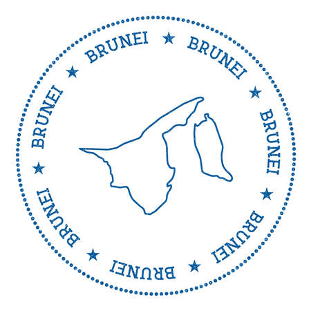 brunei darussalam: Brunei Darussalam vector map sticker. Hipster and retro style badge with Brunei Darussalam map. Minimalistic insignia with round dots border. Country map vector illustration. Illustration