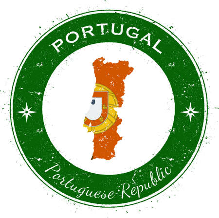 Portugal circular patriotic badge. Grunge rubber stamp with national flag, map and the Portugal written along circle border, vector illustration.