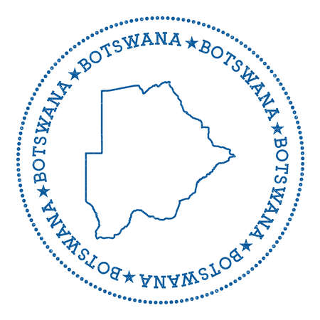 nationalist: Botswana vector map sticker. Hipster and retro style badge with Botswana map. Minimalistic insignia with round dots border. Country map vector illustration.