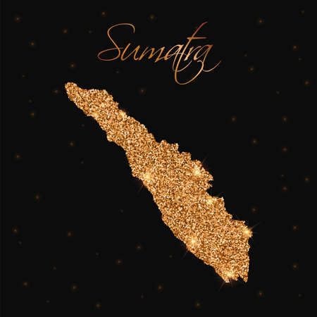 Sumatra map filled with golden glitter. Luxurious design element, vector illustration. Illustration