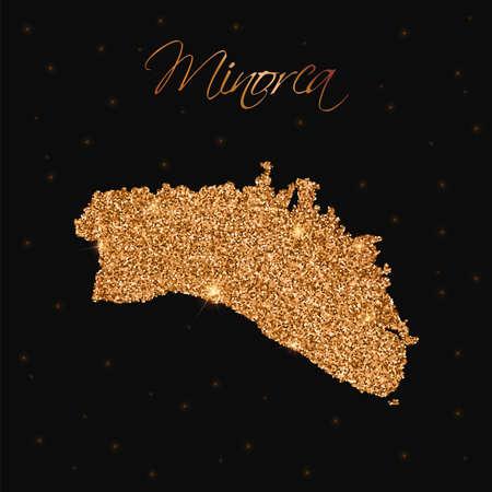 Minorca map filled with golden glitter. Luxurious design element, vector illustration. Ilustração