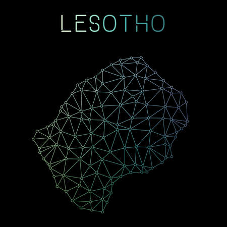 Lesotho network map. Abstract polygonal map design. Network connections vector illustration.