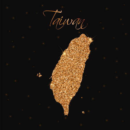 Taiwan map filled with golden glitter. Luxurious design element, vector illustration. Illustration