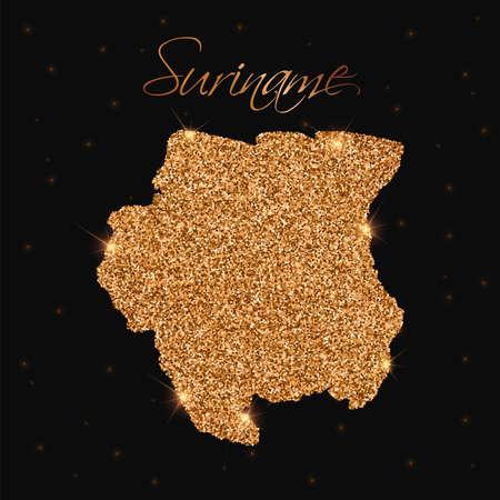 trotting: Suriname map filled with golden glitter. Luxurious design element, vector illustration. Illustration