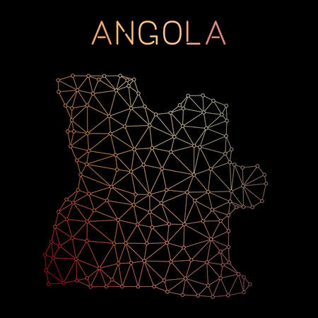 Angola network map. Abstract polygonal map design. Network connections vector illustration. Ilustração