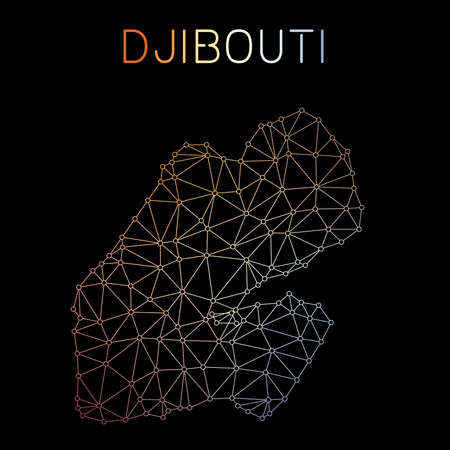Djibouti network map. Abstract polygonal map design. Network connections vector illustration. Ilustração