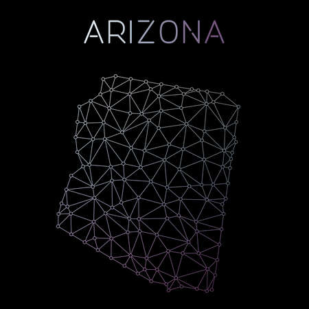 Arizona network map. Abstract polygonal US state map design. Network connections vector illustration. 向量圖像
