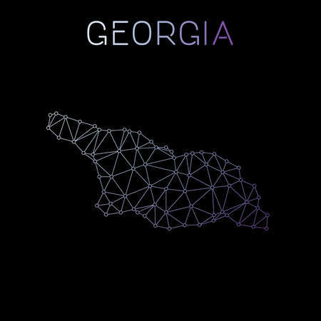 Georgia network map. Abstract polygonal map design. Network connections vector illustration.