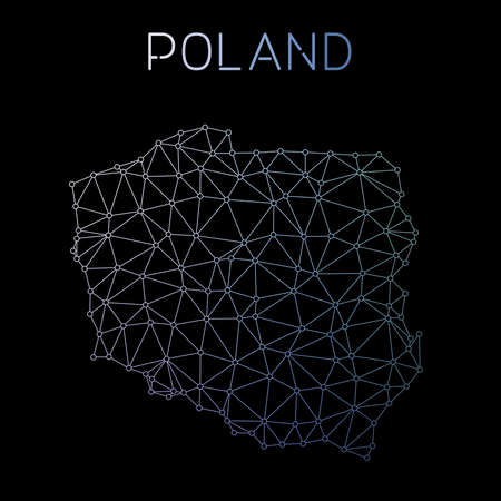 Poland network map. Abstract polygonal map design. Network connections vector illustration.